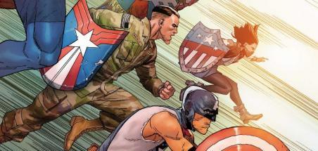 Les 5 nouveaux Captain America ensemble sur une couverture