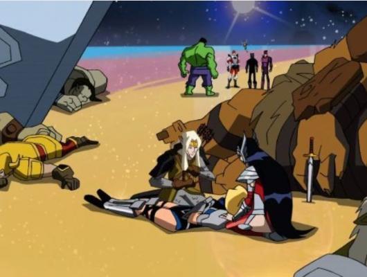 La bataille des Humains et des Asgardiens